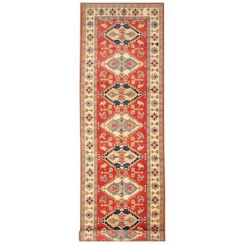 Handmade One-of-a-Kind Kazak Wool Runner (Afghanistan) - 4'9 x 16'5