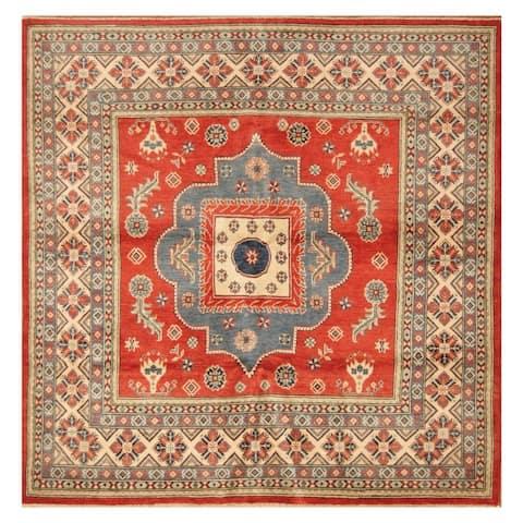Handmade Herat Oriental Afghan Hand-knotted Kazak Wool Rug (6'5 x 6'6) - 6'5 x 6'6