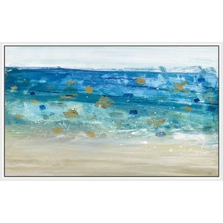 """Sea Glass Summer II"" by Susan Jill Print on Canvas in Floating Frame - Blue"