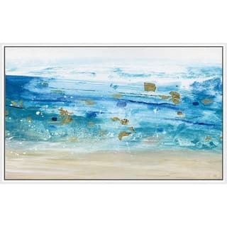 """Sea Glass Summer I"" by Susan Jill Print on Canvas in Floating Frame - Blue"