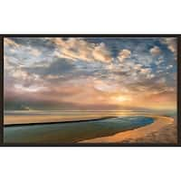 """""""Changing Tides"""" by Mike Calascibetta Canvas in Floating Frame - Blue"""