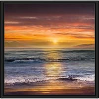 """Sundown Descanso Beach"" by Mike Calascibetta Canvas in Floating Frame - Orange"