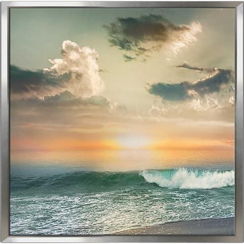 """Sundown Malibu 1"" by Mike Calascibetta Canvas in Floating Frame - Blue"