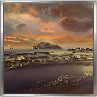 """""""Catalina Dusk"""" by Mike Calascibetta Print on Canvas in Floating Frame - Purple"""