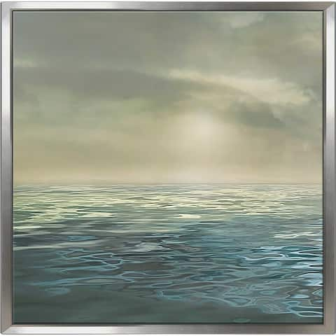 """""""Foggy Morning 1"""" by Mike Calascibetta Canvas in Floating Frame - Blue"""