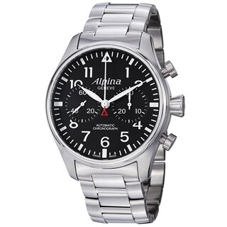 Alpina Men's AL-860B4S6B 'Aviation' Black Dial Stainless Steel Chronograph Smartimer Swiss Automatic Watch