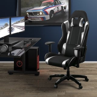 Porch & Den Banton Bonded Leather, Fabric, and Mesh High-back Ergonomic Gaming Chair