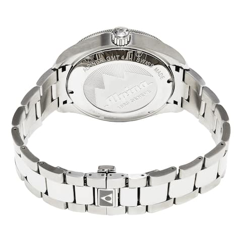 Alpina Men's AL-550S5AQ6B 'Alpiner' Silver Dial Stainless Steel GMT Swiss Automatic Watch