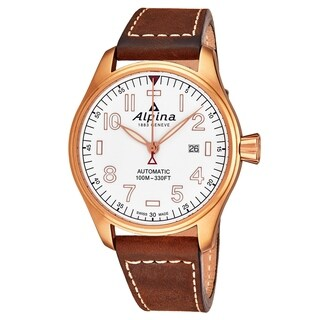 Alpina Men's AL-525S4S4 'Startimer Pilot' White Dial Brown Suede Leather Strap Swiss Automatic Watch