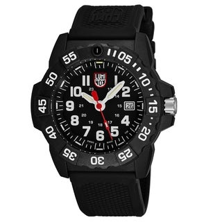 Luminox Men's XS.3501 'Navy Seal' Black Dial Black Leather Strap TimeDate Swiss Quartz Watch