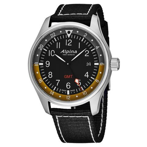 Alpina Men's AL247BBG4S6 'Startimer Pilot' Black Dial Black Nylon Strap GMT Swiss Quartz Watch