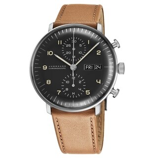 Junghans Men's 027/4501.01 'MaxBill Chronoscope' Grey Dial Beige Leather Strap Date Day Self-Winding Watch