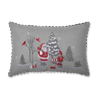 Santa Christmas Scene Lumbar Pillow