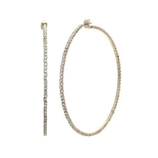 18K Yellow Gold Plated Big Hoop Earrings With Elements