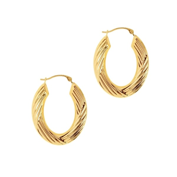 6cdfcb335 Shop 14K Solid Gold Bamboo Hoop earrings - Free Shipping Today - Overstock  - 24168251