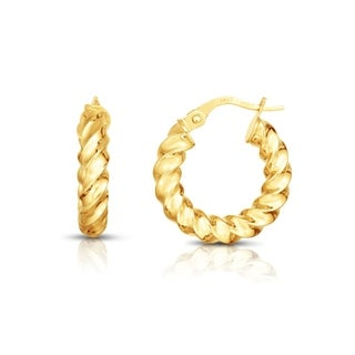 14K Solid Gold Spinning French lock Hoop Earrings