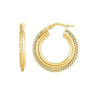 14K Solid Gold Diamond Cut Hoop Earrings