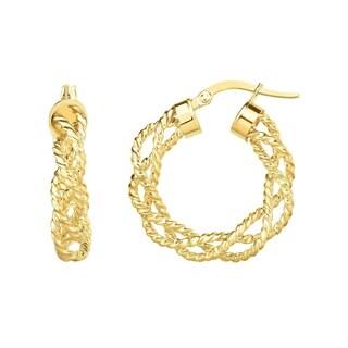 14K Solid Gold Braided Rope Hoop Earrings