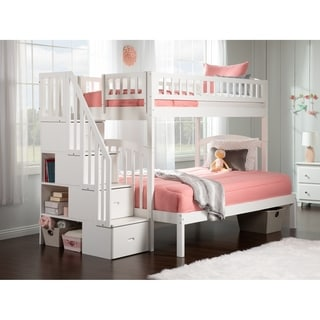 Westbrook Staircase Bunk Twin over Full in White