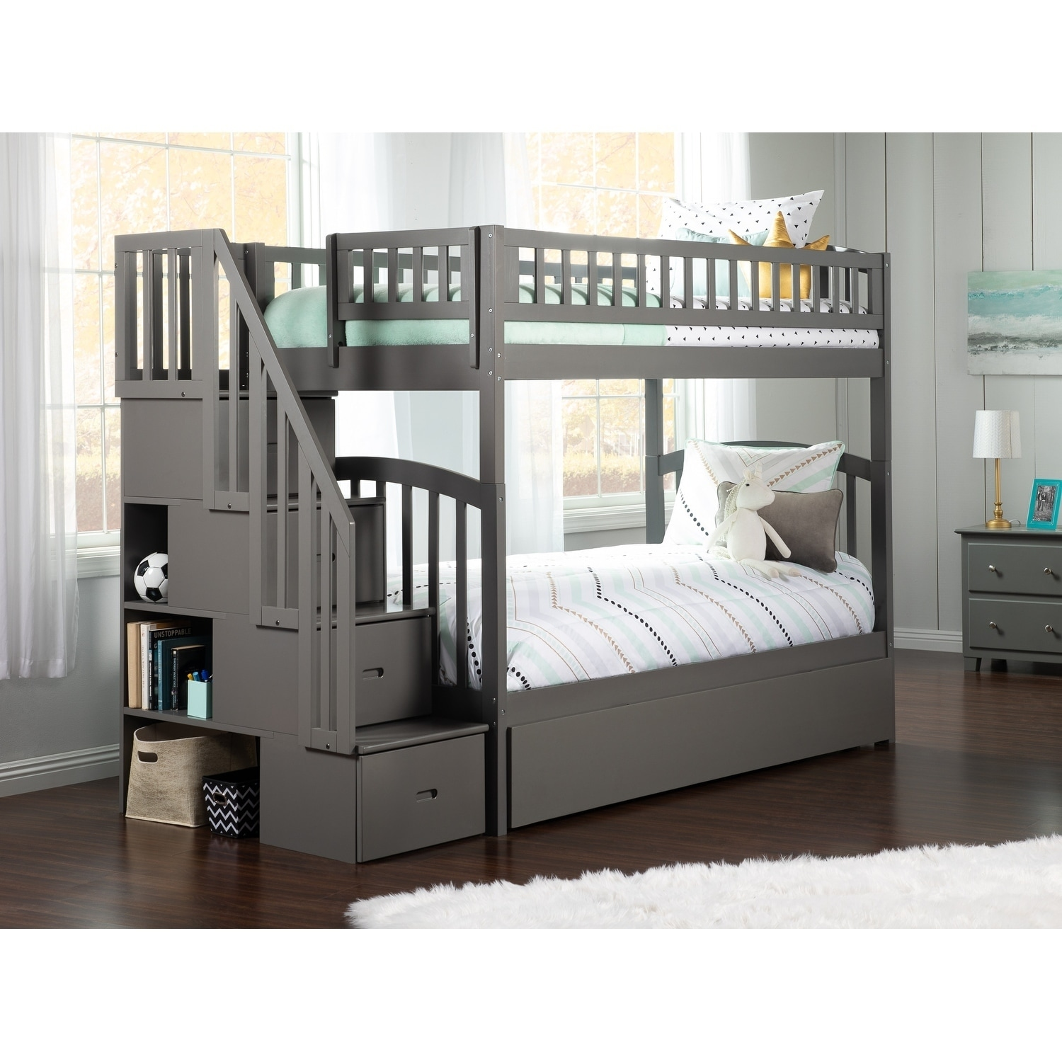 online store 53db0 6863f Westbrook Staircase Bunk Twin over Twin with Twin Size Urban Trundle Bed in  Grey