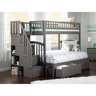Westbrook Staircase Bunk Twin/Full with 2 Bed Drawers-Grey
