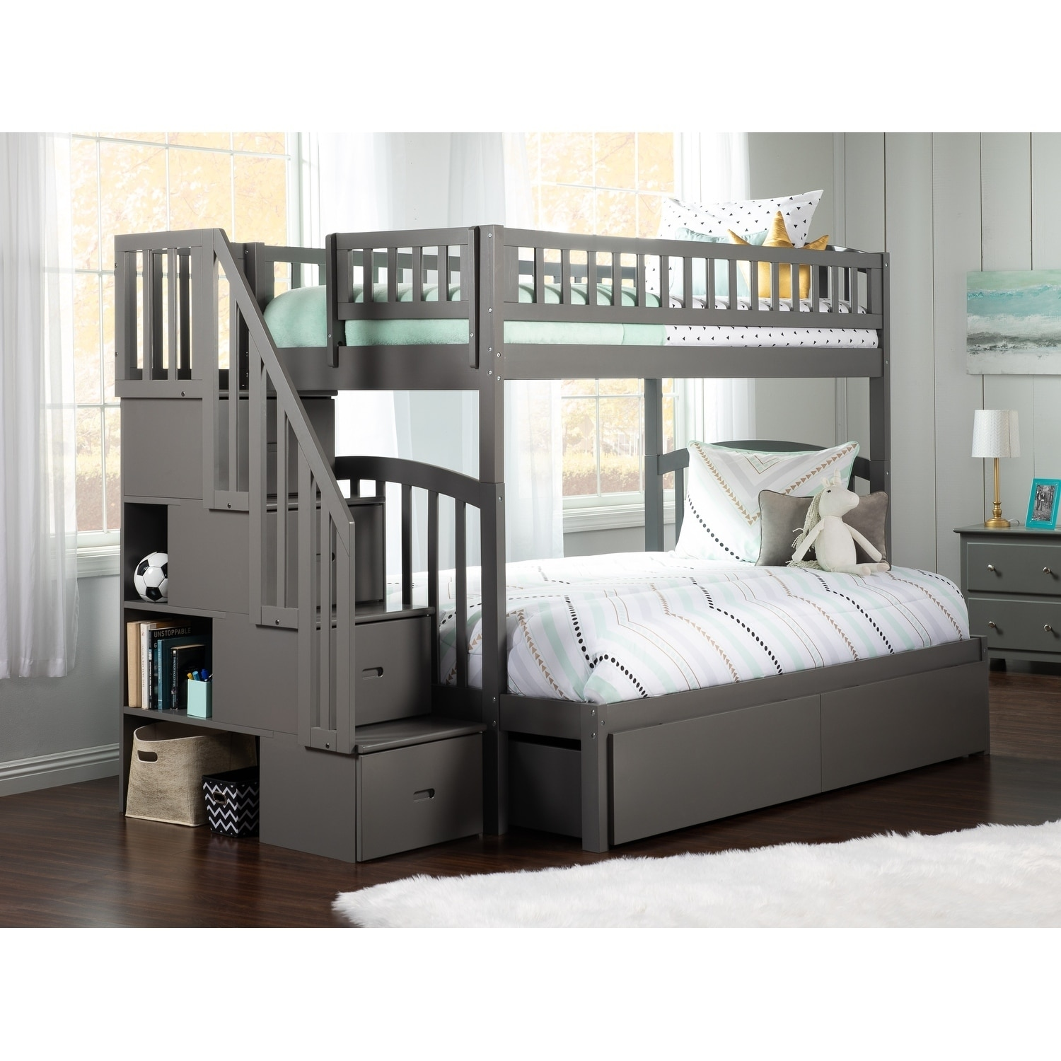 Westbrook Staircase Bunk Twin Over Full With 2 Urban Bed Drawers In Grey Overstock 24168300