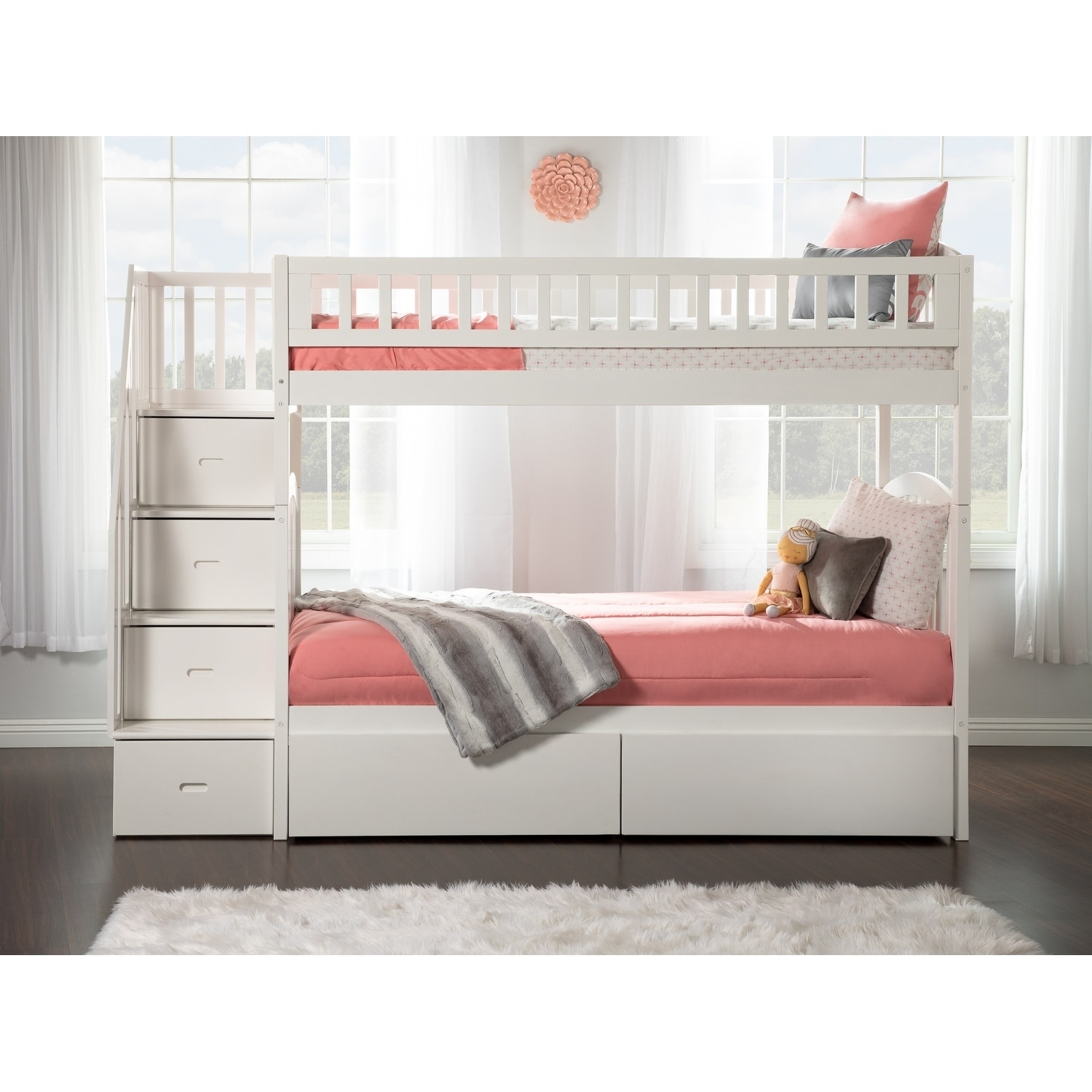 Westbrook Staircase Bunk Twin Over Twin With 2 Urban Bed Drawers In White Overstock 24168305