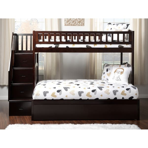 Westbrook Staircase Bunk Twin Over Full With Twin Size Urban Trundle Bed In Espresso Overstock 24168308