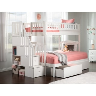 Link to Westbrook Staircase Bunk Twin over Full with 2 Urban Bed Drawers in White Similar Items in Garage & Automotive