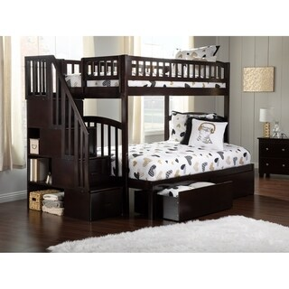 Atlantic Furniture Westbrook Espresso Wood Twin-over-Full Storage Staircase Bunk Bed