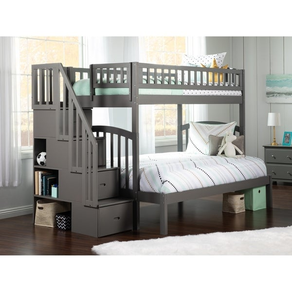 Westbrook Staircase Bunk Twin over Full in Grey. Opens flyout.