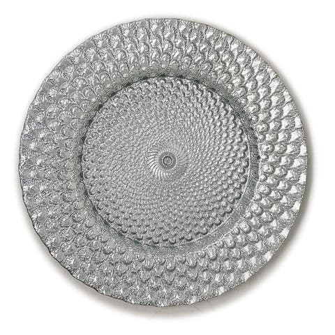 """Shiny Silver Seashell Embossed Dinnerware 13"""" Round Charger Plate-4PC"""