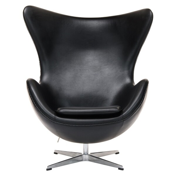 e363ab784f028 LeisureMod Modena Black Leather Upholstered Modern Accent Lounge Chair