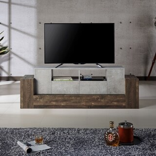 "Furniture of America Zeddy Industrial Faux Concrete TV - 71"" x 18"" x 24"""