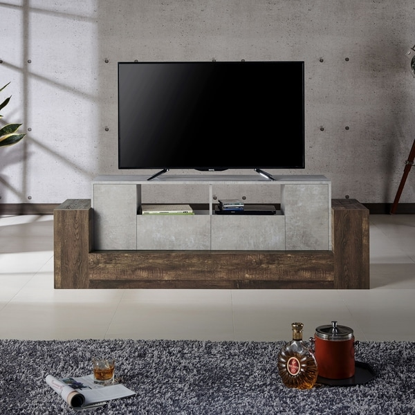 Furniture of America Geso Oak and Concrete 71-inch TV Stand. Opens flyout.