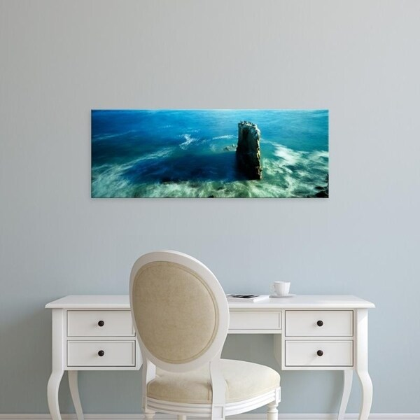 Easy Art Prints Panoramic Images's 'High angle view of a rock formation in the sea, Santa Cruz, California' Premium Canvas Art