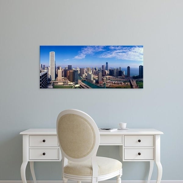 Easy Art Prints Panoramic Images's 'Panoramic view of Chicago River and Chicago skyline, IL' Premium Canvas Art