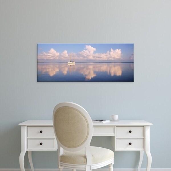Easy Art Prints Panoramic Images's 'Boat Floating In Sea, Florida Keys, Florida, USA' Premium Canvas Art