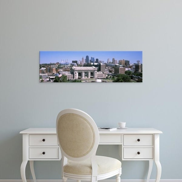 Easy Art Prints Panoramic Images's 'Union Station with city skyline in background, Kansas City, Missouri' Premium Canvas Art