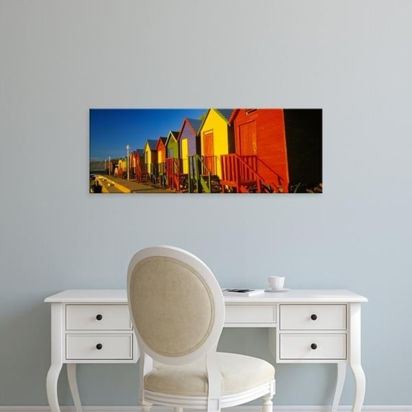 Easy Art Prints Panoramic Images's 'Beach huts in a row, St James, Cape Town, South Africa' Premium Canvas Art