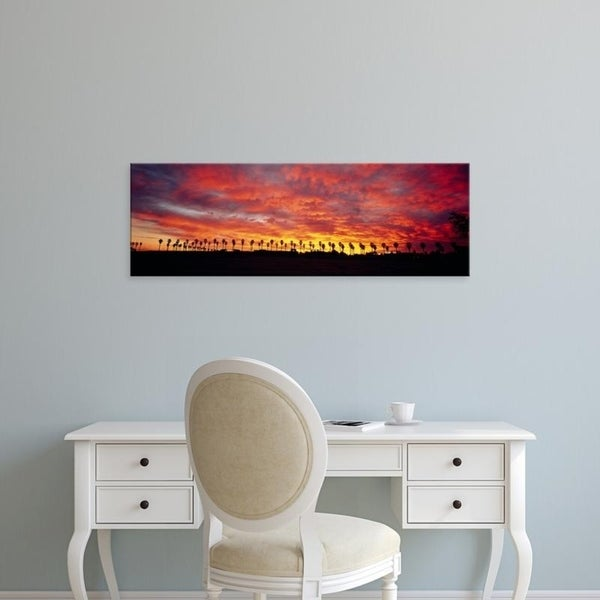 Easy Art Prints Panoramic Images's 'Silhouette of palm trees at sunrise, San Diego, San Diego County, California' Canvas Art