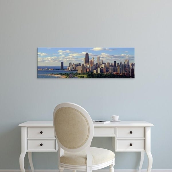 Easy Art Prints Panoramic Images's 'Panoramic view of Lake Michigan and Lincoln Park, Chicago, IL' Premium Canvas Art