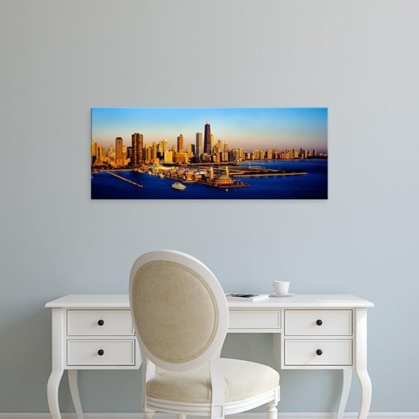 Easy Art Prints Panoramic Images's 'Navy Pier in the lake at sunrise, Lake Michigan, Chicago, Cook County, Illinois' Canvas Art