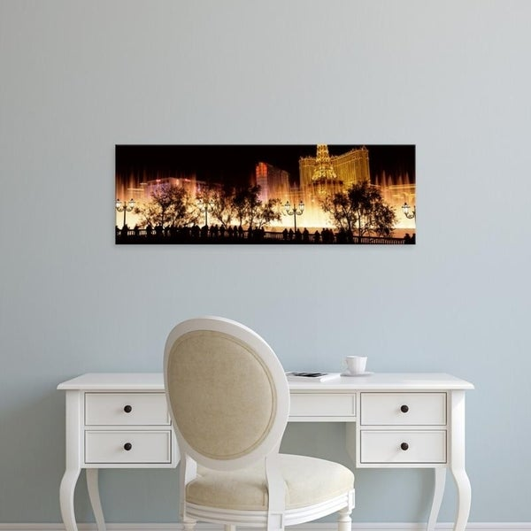 Easy Art Prints Panoramic Images's 'Hotels in a city lit up at night, The Strip, Las Vegas, Nevada, USA' Premium Canvas Art