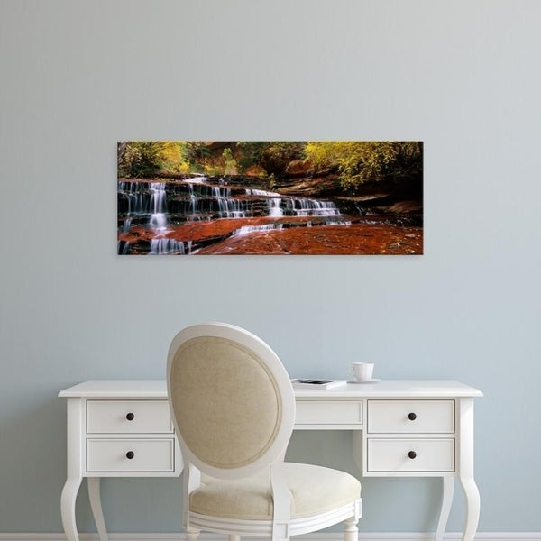 Easy Art Prints Panoramic Images's 'Waterfall in a forest, North Creek, Zion National Park, Utah, USA' Premium Canvas Art