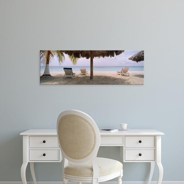 Easy Art Prints Panoramic Images's 'Lounge chairs on 7-Mile Beach, Negril, Jamaica' Premium Canvas Art
