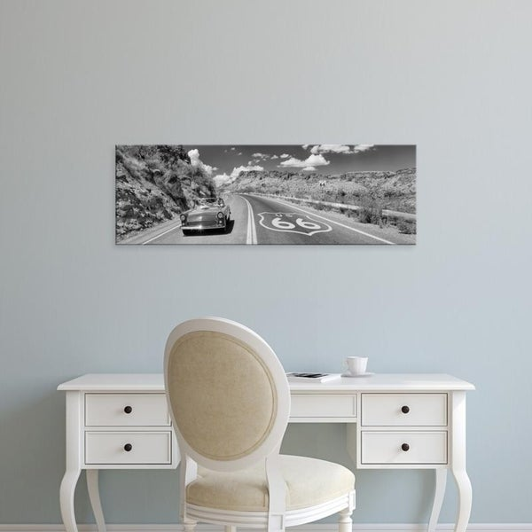 Easy Art Prints Panoramic Images's 'Vintage car moving on the road, Route 66, Arizona, USA' Premium Canvas Art