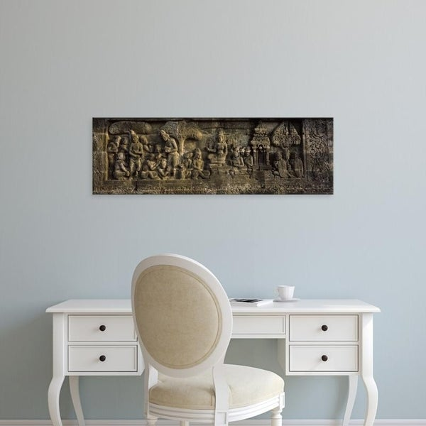 Easy Art Prints Panoramic Images's 'Carvings on the wall, Borobudur Temple, Java, Indonesia' Premium Canvas Art