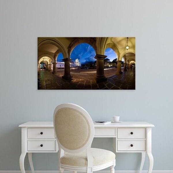 Easy Art Prints Panoramic Images's 'Palace at dusk, Palacio De Los Capitanes Generale, Antigua Guatemala, Guatemala' Canvas Art