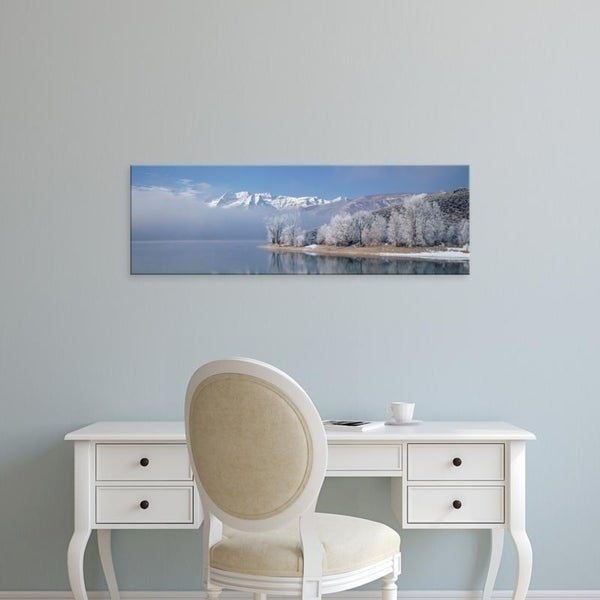Easy Art Prints Panoramic Images's 'USA, Utah, Mt Timpanogos Deer Creek State Park, View of mist over a lake' Premium Canvas Art